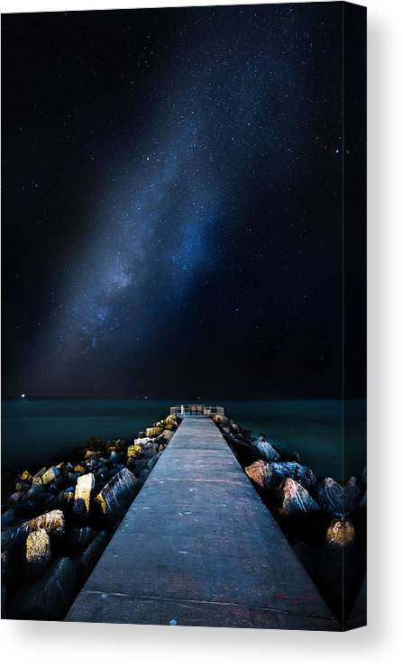 Galaxy Canvas Print featuring the photograph St. Pete Night by Marvin Spates