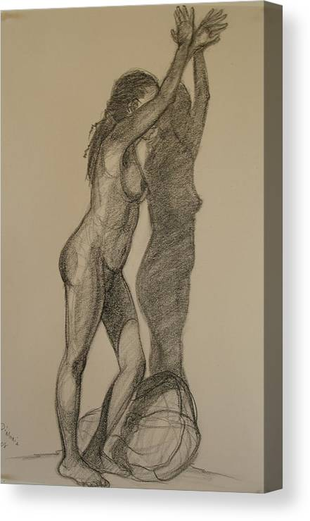 Realism Canvas Print featuring the drawing Standing Nude 1 by Donelli DiMaria