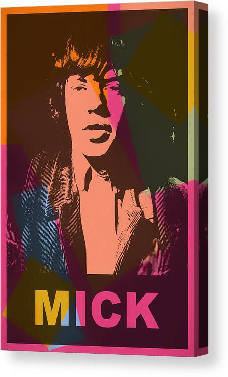 Mick Jagger Color Pop Canvas Print featuring the mixed media Mick Jagger Color Pop by Dan Sproul