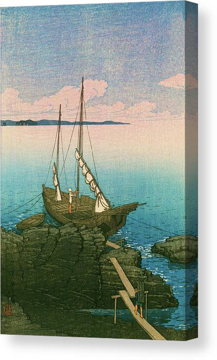 Kawase Hasui Canvas Print featuring the painting Travel Souvenir First Collection, Boshu, Stone Pile - Digital Remastered Edition by Kawase Hasui