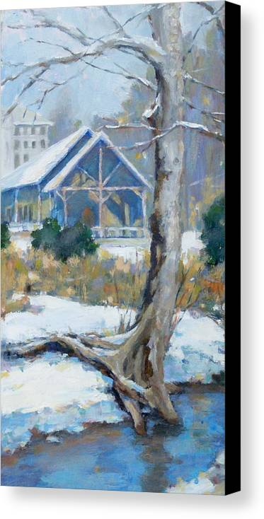 Edwin Warner Park Canvas Print featuring the painting A Winter Walk In The Park by Sandra Harris