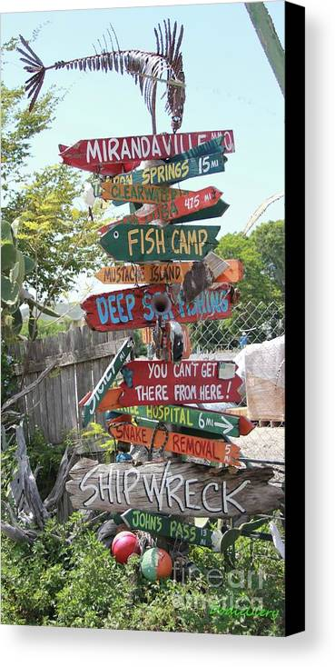 Street Signs Canvas Print featuring the photograph Florida Crossroads by Dodie Ulery