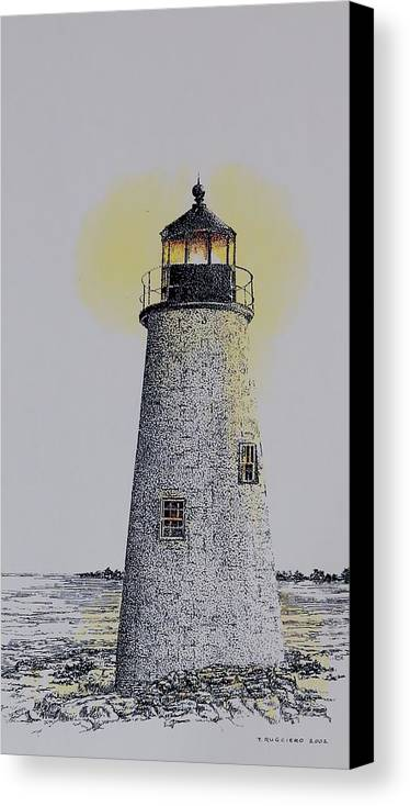 New England Lighthouse Seascape Landscape Pen & Ink Watercolor Coastline Connecticut Canvas Print featuring the painting Light On The Sound by Tony Ruggiero