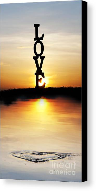 Love. Silhouette Canvas Print featuring the photograph Love Heart by Tim Gainey