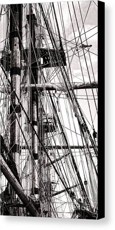 Sailing Canvas Print featuring the photograph Rigging by Olivier Le Queinec