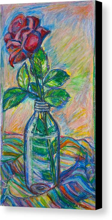 Still Life Canvas Print featuring the painting Rose In A Bottle by Kendall Kessler