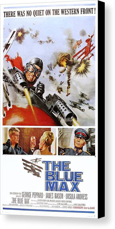 1960s Movies Canvas Print featuring the photograph The Blue Max, Us Poster, Top George by Everett