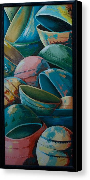 Canvas Print featuring the painting Calabash by Alfred Awonuga