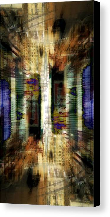 Abstract Canvas Print featuring the digital art Cityscape by Kenneth Armand Johnson