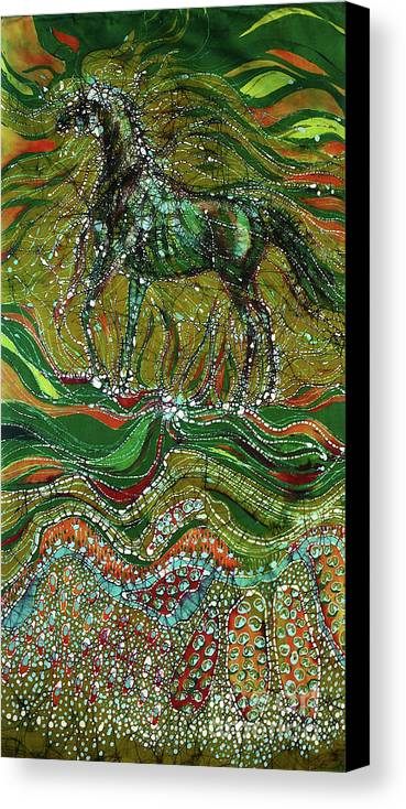 Horse Canvas Print featuring the tapestry - textile Horse Rises From The Earth by Carol Law Conklin