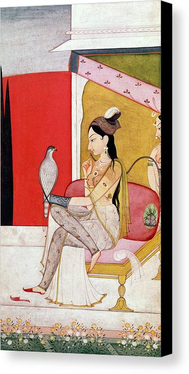 Lady Canvas Print featuring the painting Lady With A Hawk by Guler School