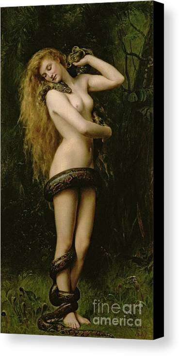 Nude; Female; Snake; Long Hair; Pre-raphaelite; Lilith Canvas Print featuring the painting Lilith by John Collier