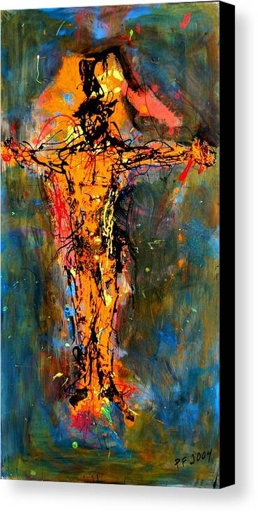 Figurative Canvas Print featuring the painting Man On A Cross by Paul Freidin