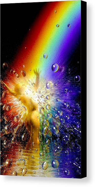 Canvas Print featuring the painting The Gold At The End Of The Rainbow by Robby Donaghey