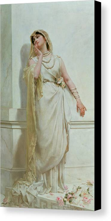 The Canvas Print featuring the painting The Young Bride by Alcide Theophile Robaudi
