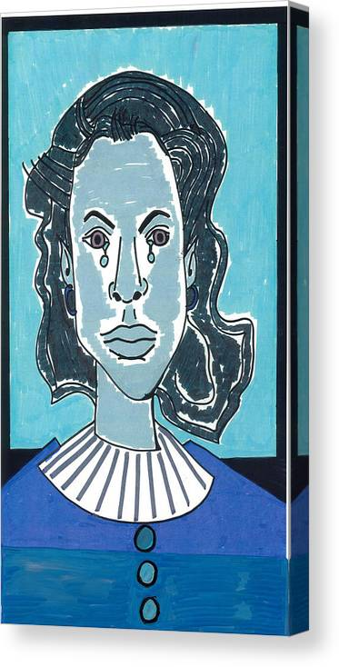 Blue Canvas Print featuring the drawing Blue Girl by Don Koester