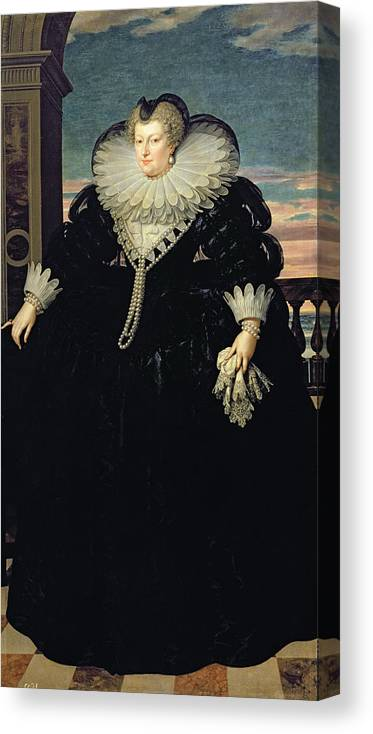 Handkerchief Canvas Print featuring the photograph Marie De Medici 1573-1642 Queen Of France, 1617 Oil On Canvas by Frans II Pourbus