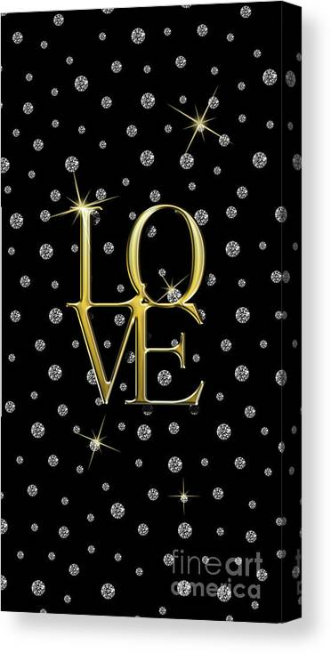 Canvas Print featuring the digital art Gold Love Jewelry Art by Anne Kitzman