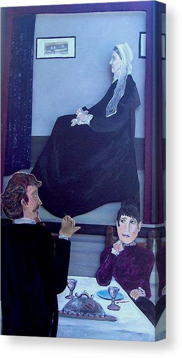 Whistler Canvas Print featuring the relief Mother... Dinner Is Getting Cold by Richard Hubal