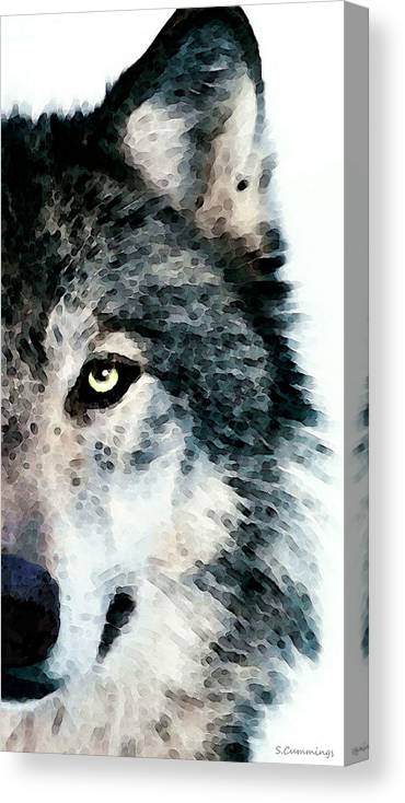 Wolf Canvas Print featuring the painting Wolf Art - Timber by Sharon Cummings