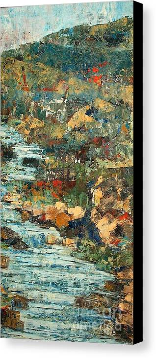 Landscape Canvas Print featuring the painting Hilly Stream - Sold by Judith Espinoza