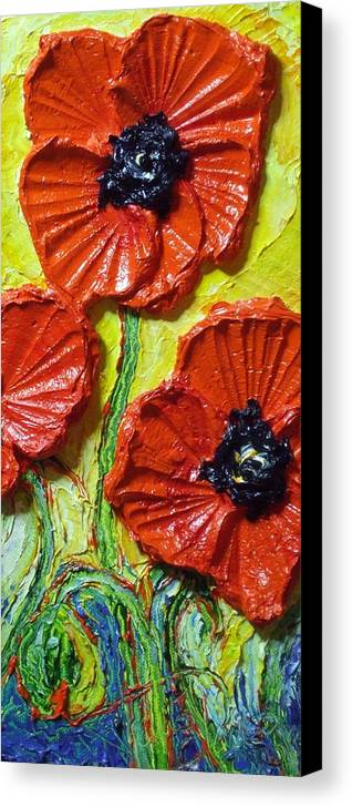 Red Poppy Painting Canvas Print featuring the painting Red Poppies II by Paris Wyatt Llanso