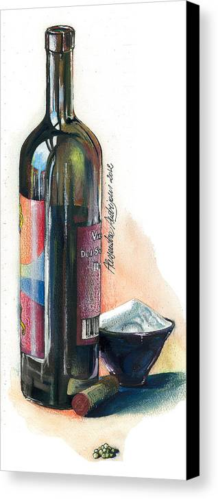 Landscape Canvas Print featuring the painting Window On A Bottle by Alessandra Andrisani