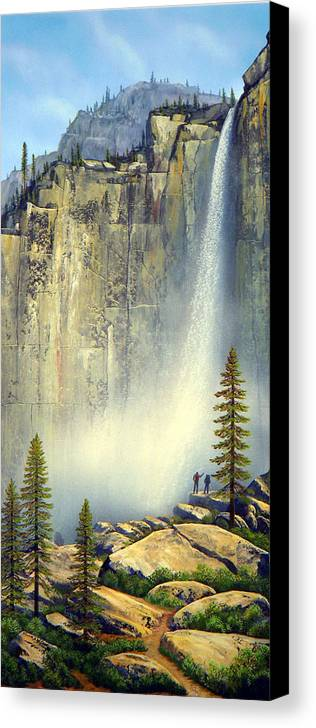 Landscape Canvas Print featuring the painting Misty Falls by Frank Wilson