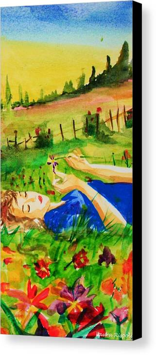 Landscape Canvas Print featuring the painting Dreaming by Laura Rispoli