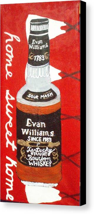 Wiskey  Bottle With Teepees Canvas Print featuring the painting Home Sweet Home by Patrice Tullai