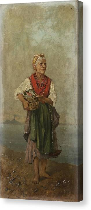 European School Of 19th Century  Canvas Print featuring the painting Fish Seller With The Vesuvio In The Background by MotionAge Designs
