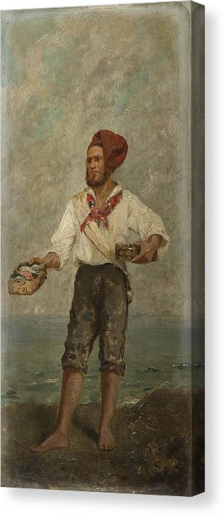 European School Of 19th Century  Canvas Print featuring the painting Young Fisherman In The Gulf With Capri At A Distance by MotionAge Designs