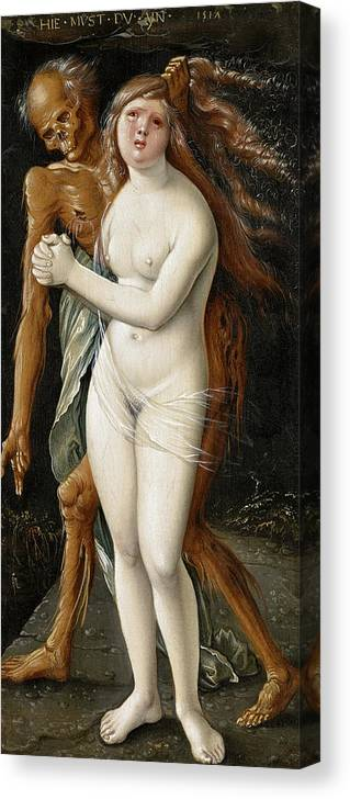 Hans Baldung Canvas Print featuring the painting Death And The Maiden, 1517 by Hans Baldung