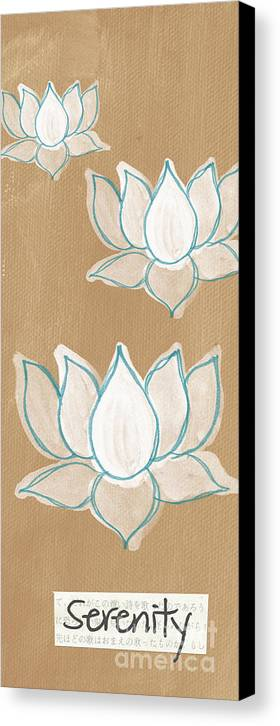 Serenity Canvas Print featuring the painting Lotus Serenity by Linda Woods