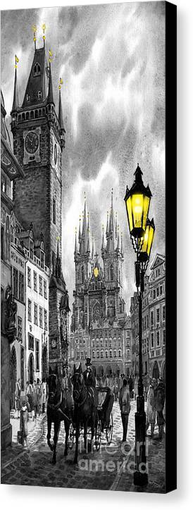 Geelee.watercolour Paper Canvas Print featuring the painting Bw Prague Old Town Squere by Yuriy Shevchuk