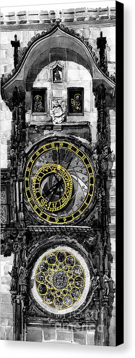Geelee.watercolour Paper Canvas Print featuring the painting Bw Prague The Horologue At Oldtownhall by Yuriy Shevchuk