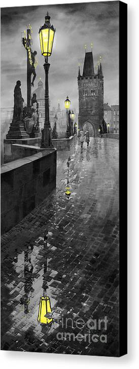Prague Canvas Print featuring the painting Bw Prague Charles Bridge 01 by Yuriy Shevchuk