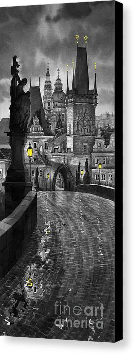 Prague Canvas Print featuring the painting Bw Prague Charles Bridge 03 by Yuriy Shevchuk