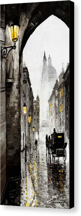 Prague Canvas Print featuring the mixed media Old Street by Yuriy Shevchuk