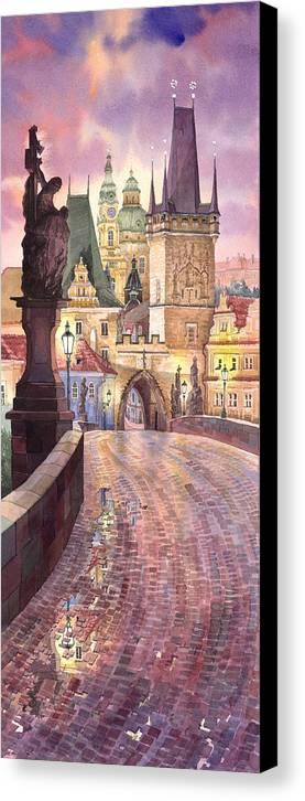 Watercolour Canvas Print featuring the painting Prague Charles Bridge Night Light 1 by Yuriy Shevchuk