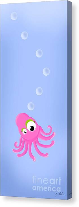 Octopus Canvas Print featuring the digital art Kiniart Octopus by Kim Niles