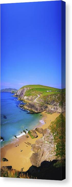 Blue Sky Canvas Print featuring the photograph Coumeenoole Beach, Dingle Peninsula, Co by The Irish Image Collection