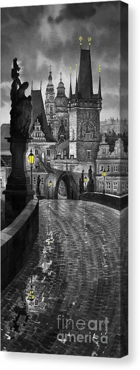 Prague Canvas Print featuring the painting Bw Prague Charles Bridge 03 by Yuriy Shevchuk