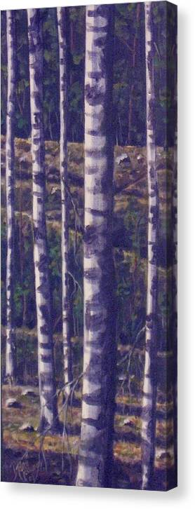 Birch Canvas Print featuring the painting Reaching For The Sky II by Maren Jeskanen