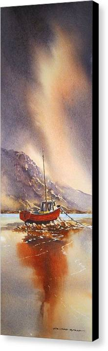 Landscape Canvas Print featuring the painting Low Tide Near Banrty Revisited by Roland Byrne