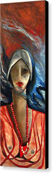 Red Pearls Woman Semi Nude Canvas Print featuring the painting Red Pearls by Niki Sands