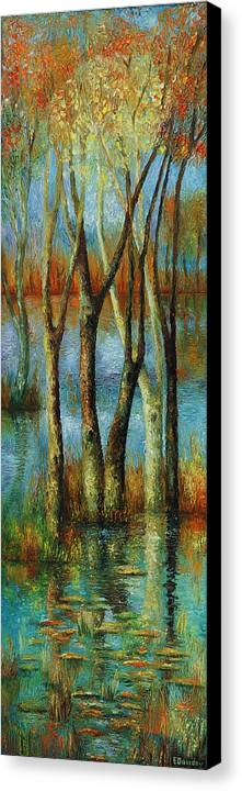 Landscape Canvas Print featuring the painting Water - Middle Part Of Triptych. by Evgenia Davidov
