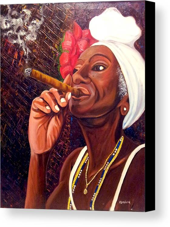Cuban Art Canvas Print featuring the painting  Cigar Lady by Jose Manuel Abraham