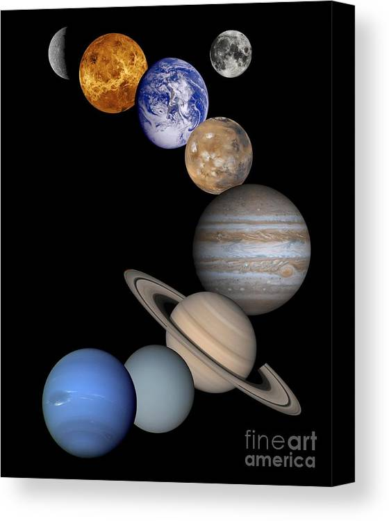 Solar; System; Montage; Astronomy Canvas Print featuring the drawing Solar System Montage by Anonymous