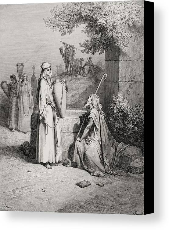 Male Canvas Print featuring the painting Eliezer And Rebekah by Gustave Dore